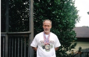 Dad with his Wisconsin Senior Olympic medals