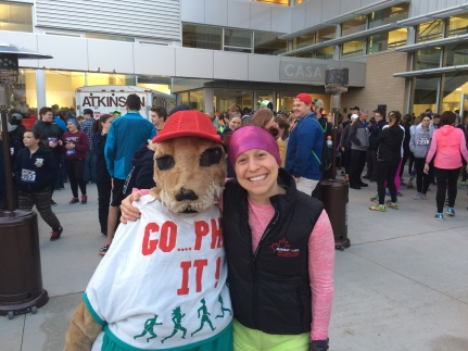 Maddie (math student) dressed up the old school Runners Soul mascot costume